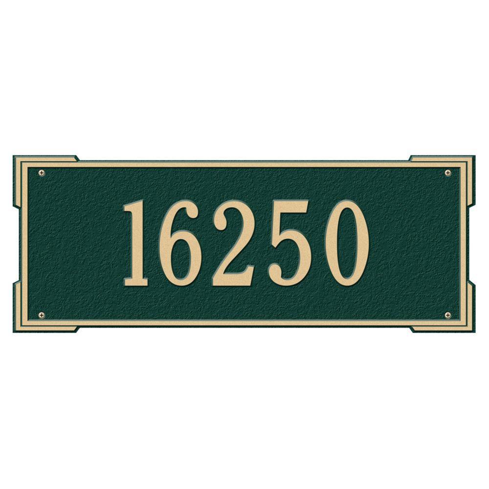 Rectangular Roanoke Estate Wall 1-Line Address Plaque - Green/Gold