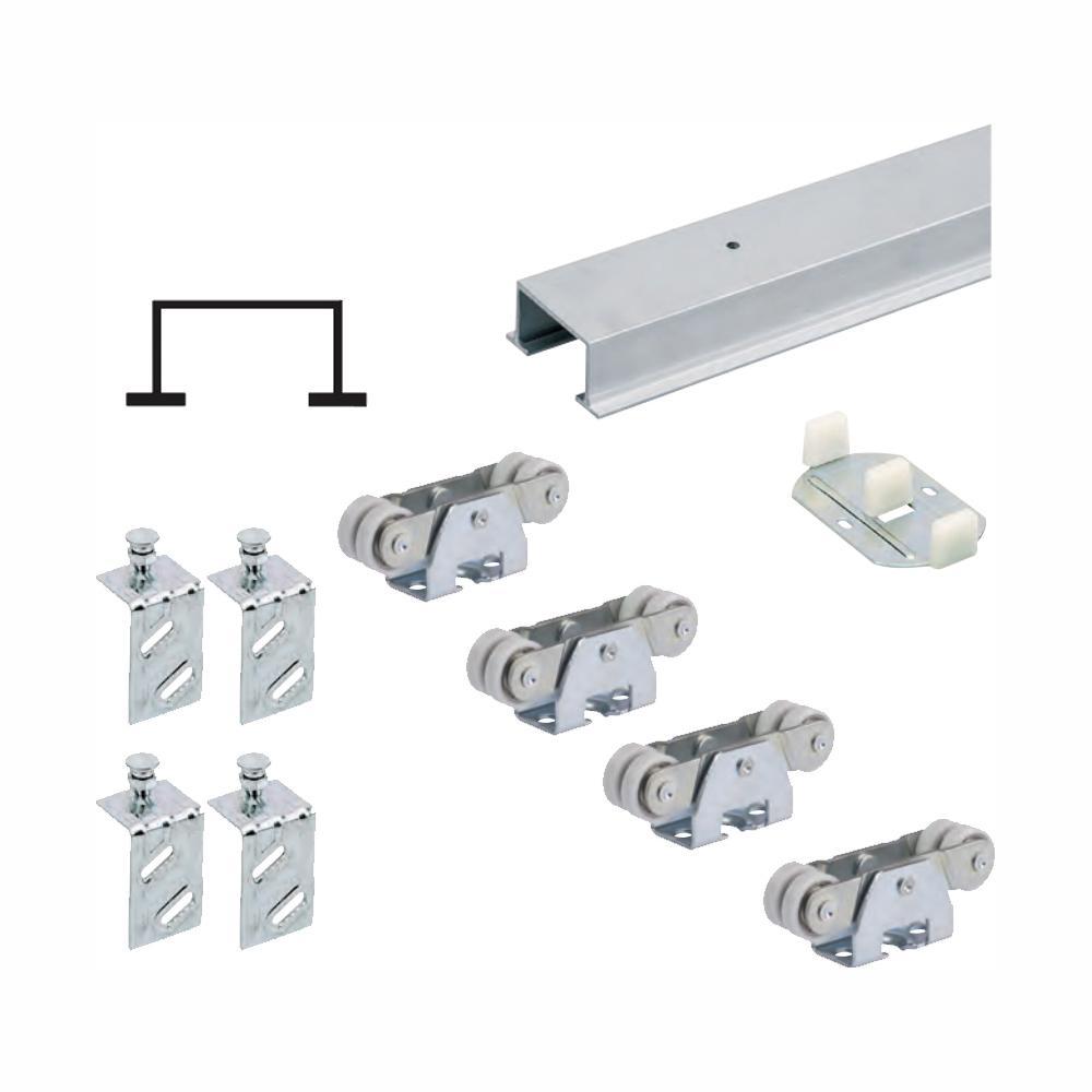 96 in. TopLine 72-138 Double Door Hardware and Track