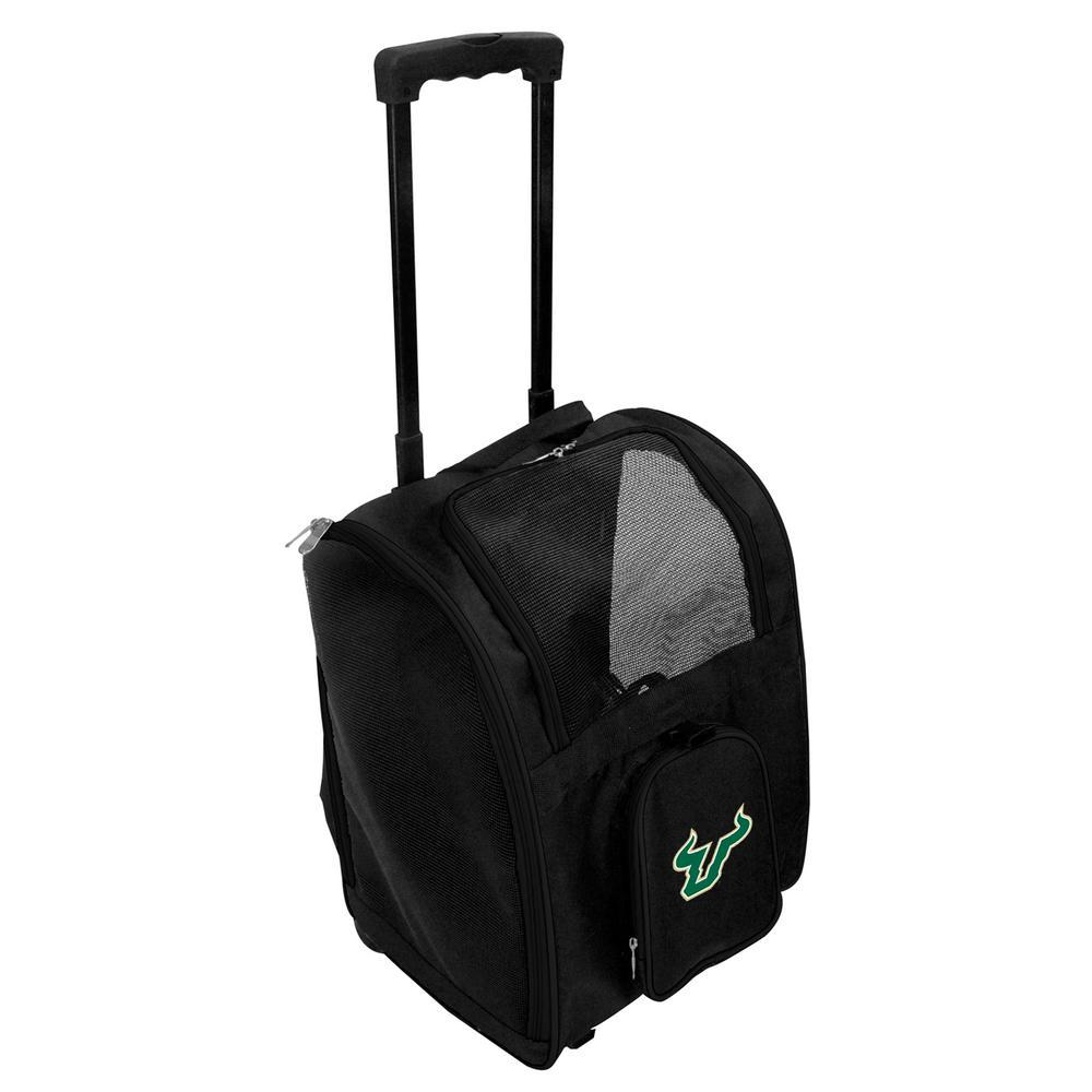 NCAA South Florida Bulls Pet Carrier Premium Bag with wheels in Black