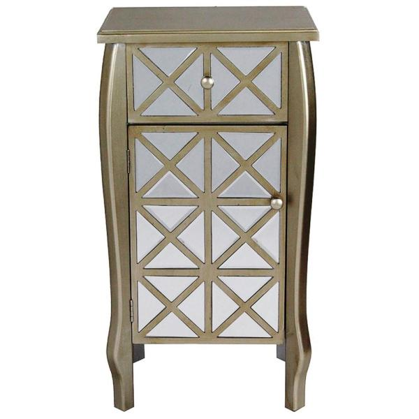 f43d6acc19 HomeRoots Shelly Assembled 18x18x13 in. Raised Accent Storage Cabinet with  Mirrored Glass Door and Drawer in White Washed Wood 294638 - The Home Depot