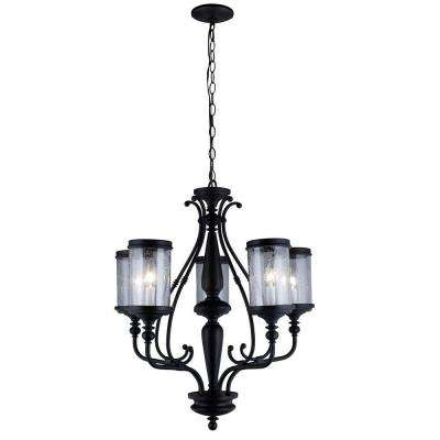 Estella Collection 5-Light Oil-Rubbed Bronze Chandelier with Clear Seeded Glass Shades