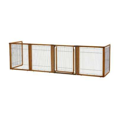35.8 in. x 135.8 in. High 6-Panel Wood Convertible Elite Pet Gate in Brown