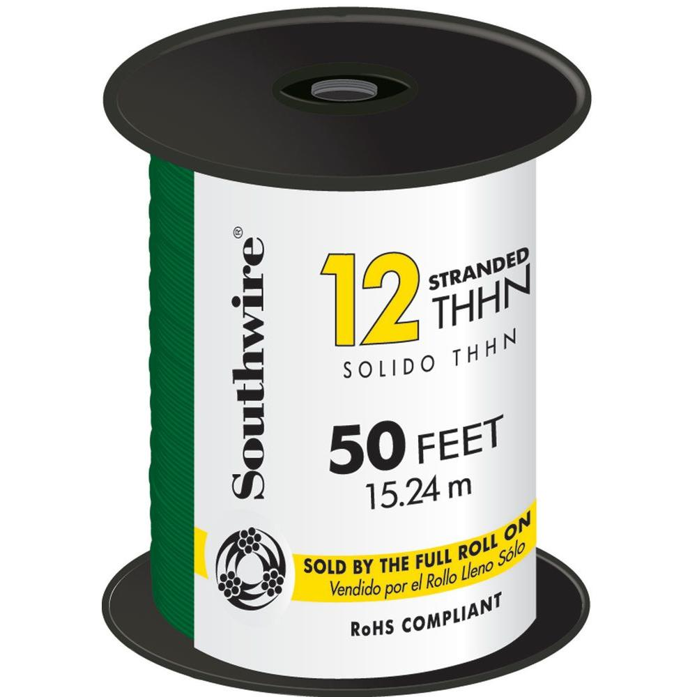Southwire 50 ft. 12 Green Stranded CU THHN Wire