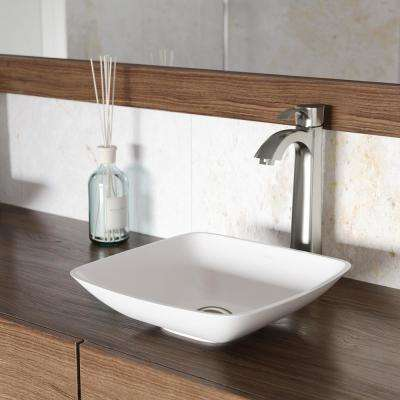Hyacinth Matte Stone Vessel Bathroom Sink in White with Otis Vessel Faucet in Brushed Nickel