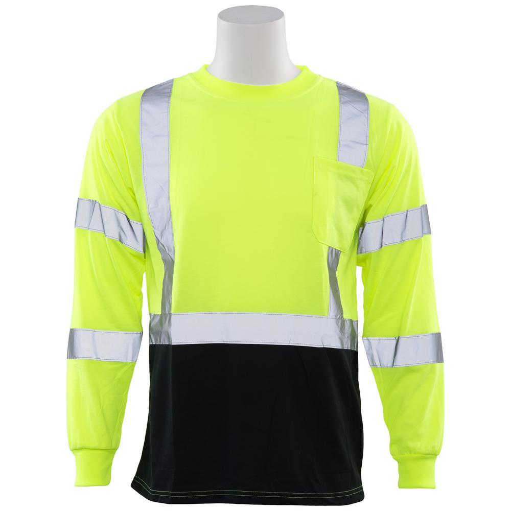 9804S 4X Class 3 Long Sleeve Hi-Viz Lime/Black Bottom Unisex Poly Jersey T-Shirt