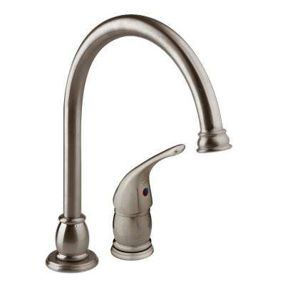 Single-Handle Standard Kitchen Faucet with Separate Control Lever and Side Sprayer in Brushed Satin Nickel