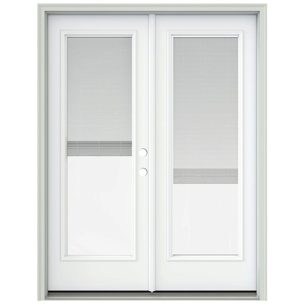 Jeld wen 60 in x 80 in brilliant white prehung left hand for Home depot prehung french doors