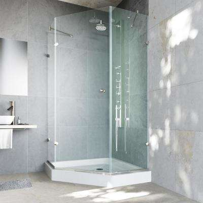 Verona 40.25 in. x 78.75 in. Frameless Neo-Angle Shower Enclosure in Brushed Nickel and Clear Glass with Base in White