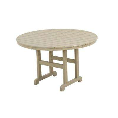 La Casa Cafe 48 in. Sand Round Plastic Outdoor Patio Dining Table