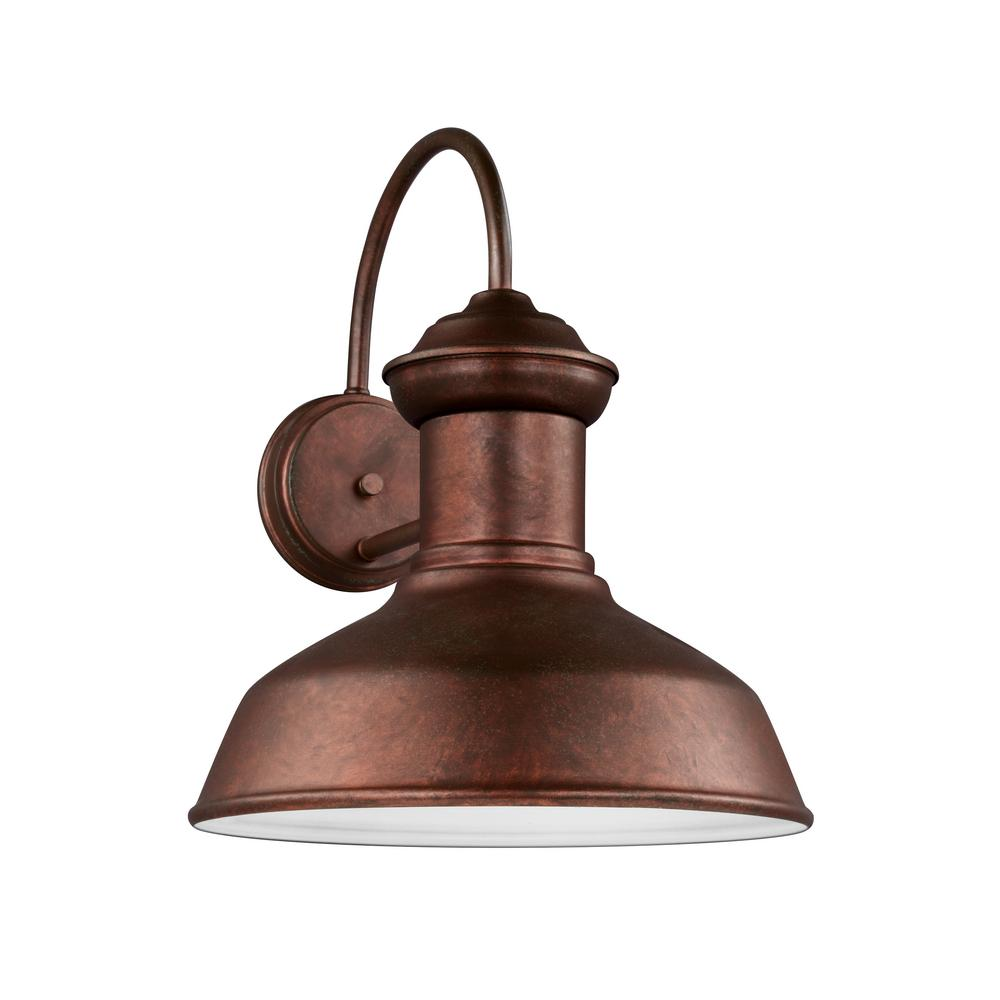 Sea Gull Lighting Fredricksburg 1-Light Weathered Copper Outdoor 15.875 in. Wall Lantern Sconce with LED Bulb