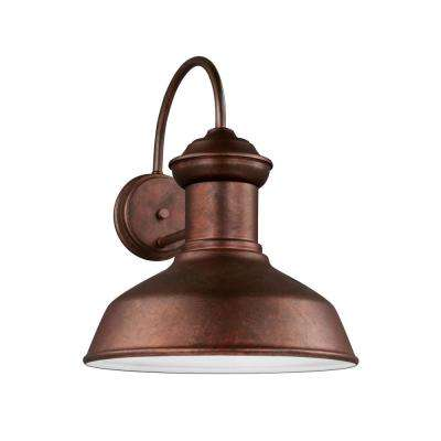 Fredricksburg 1-Light Weathered Copper Outdoor 15.875 in. Wall Lantern Sconce with LED Bulb