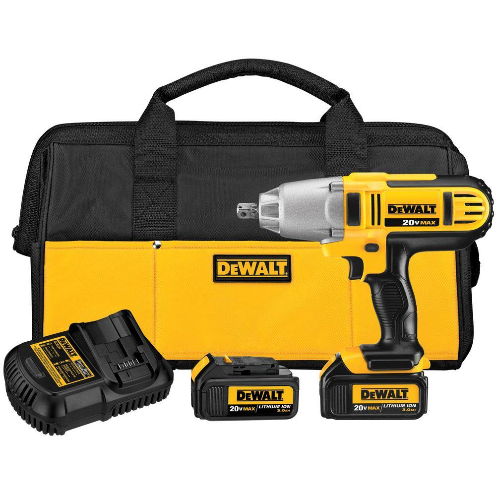 DEWALT 20-Volt Max Lithium-Ion 1/2 in. High Torque Impact Wrench with Detent Pin