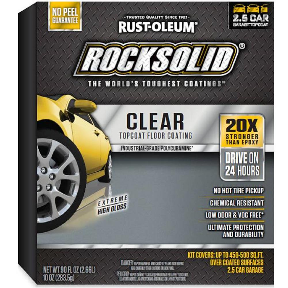 Rust oleum rocksolid 90 oz clear top coat garage floor for Best product to clean garage floor