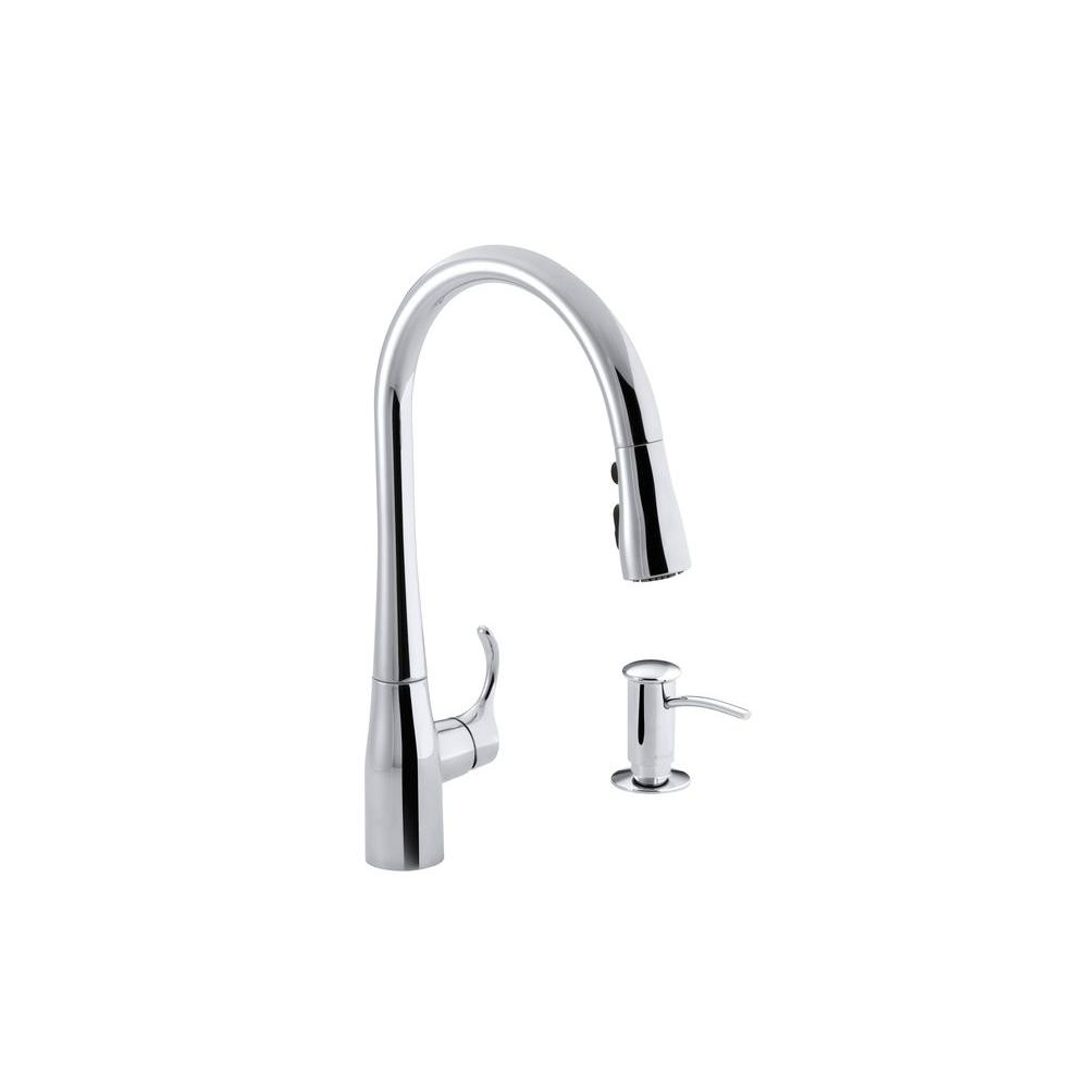 KOHLER Simplice Single-Handle Pull-Down Sprayer Kitchen Faucet in Polished Chrome