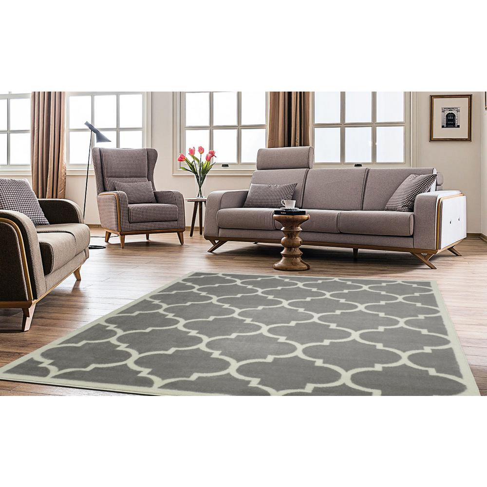 Ottomanson contemporary moroccan trellis gray 8 ft x 10 - Living room area rugs contemporary ...