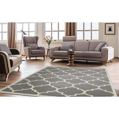 Contemporary Moroccan Trellis Gray 8 Ft X 10 Area Rug