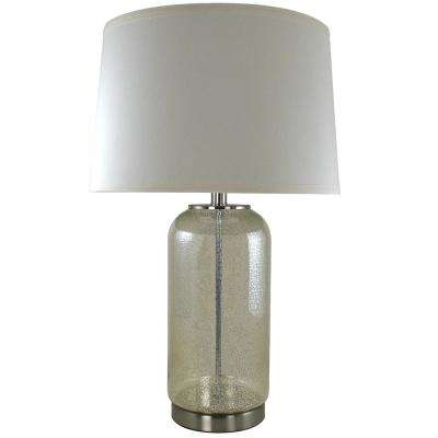 Afton 26 in. Speckled Brushed Nickel Mercury Cylinder Table Lamp