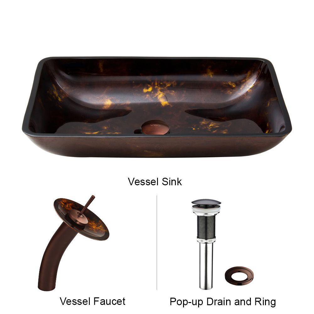 VIGO Rectangular Glass Vessel Sink in Brown and Gold Fusion with Waterfall Faucet Set in Oil Rubbed Bronze