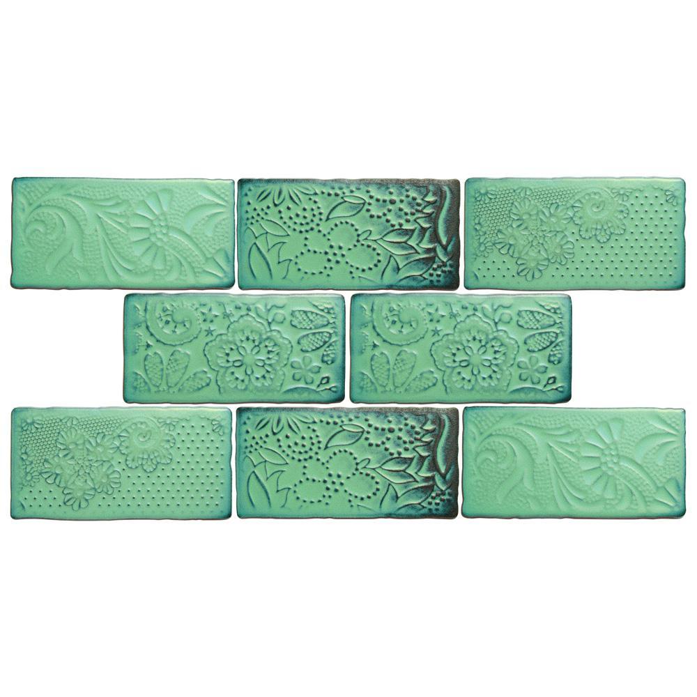 Antic Feelings Lava Verde 3 in. x 6 in. Ceramic Subway Wall Tile (1 sq. ft. / pack)