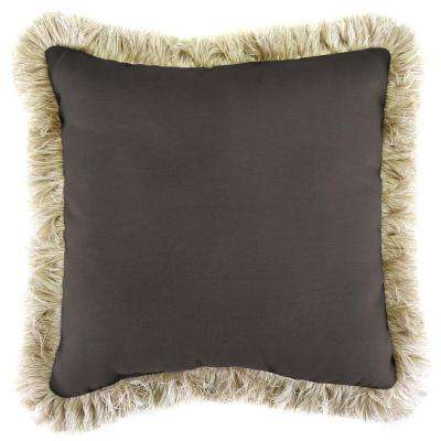 Sunbrella Canvas Coal Square Outdoor Throw Pillow with Canvas Fringe