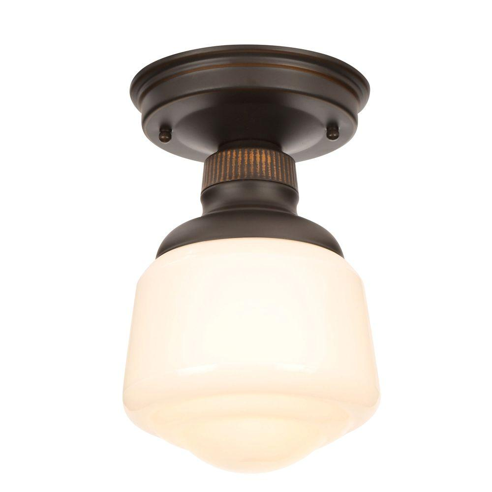 Hampton bay esdale 5 in 1 light oil rubbed bronze semi flushmount 1 light oil rubbed bronze semi flushmount with milk glass shade hjd8011a 2 the home depot doublecrazyfo Image collections