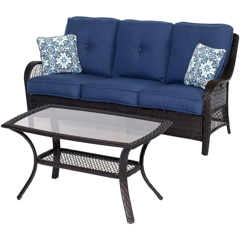 Orleans Brown 2-Piece All-Weather Wicker Patio Conversation Set with Navy Blue