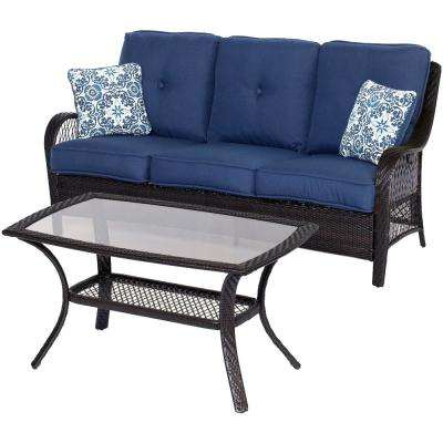 Orleans Brown 2-Piece All-Weather Wicker Patio Conversation Set with Navy Blue Cushions