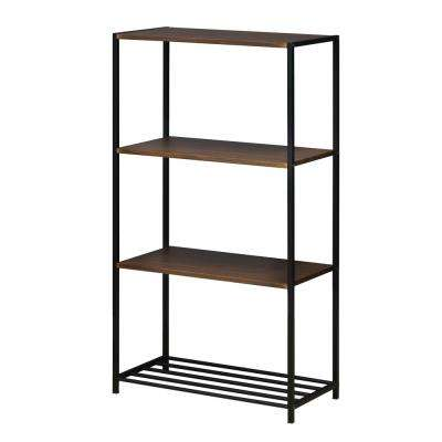 Modern 4-Tier Steel Storage Shelves in Dark Walnut