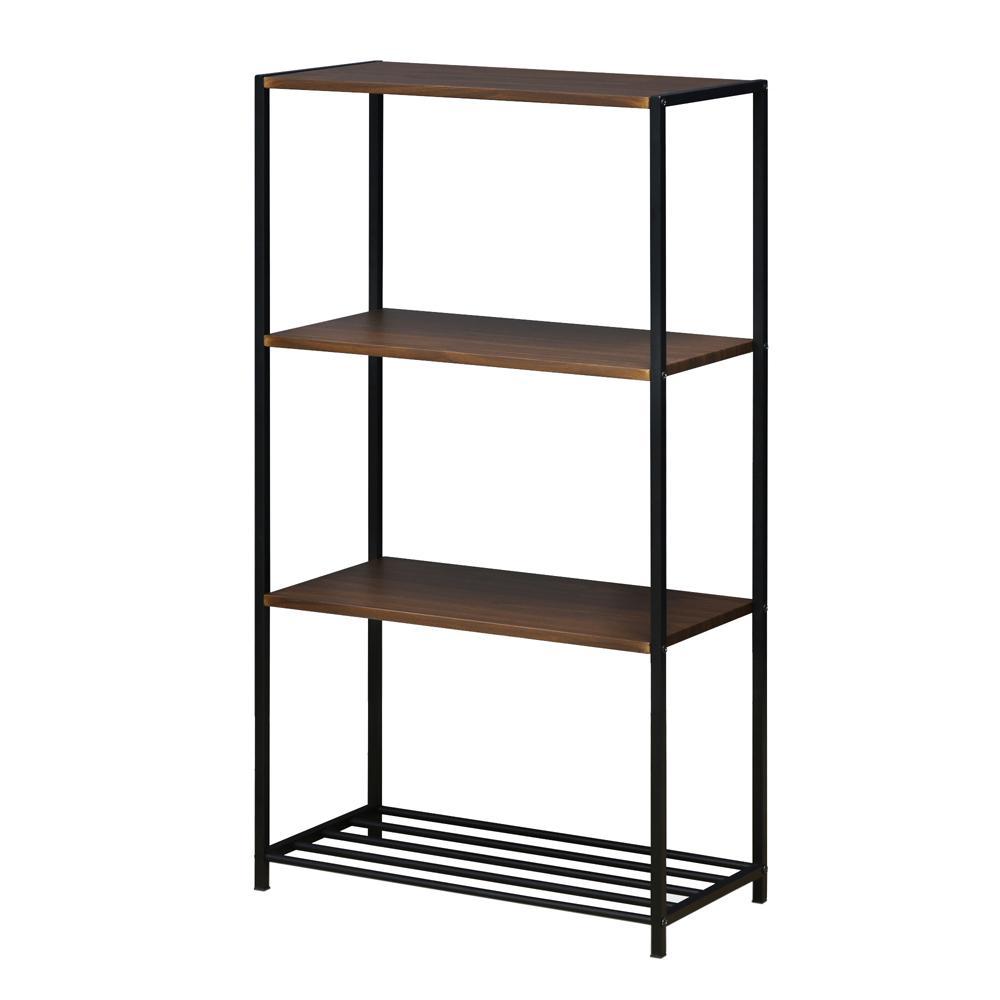 Modern 4-Tier Steel Storage Shelves in Dark Walnut