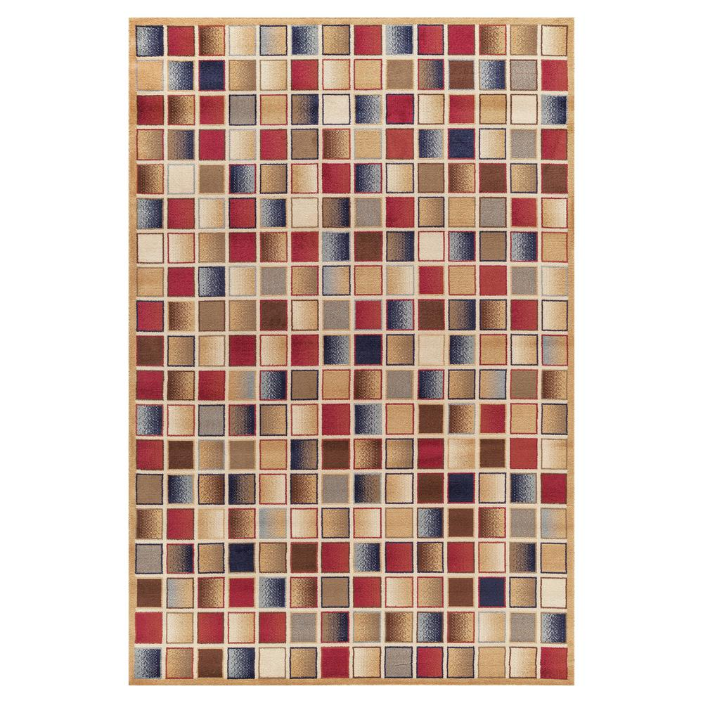 Concord Global Trading Jewel Checkboard Gold 6 ft. 7 in. x 9 ft. 3 in. Area Rug