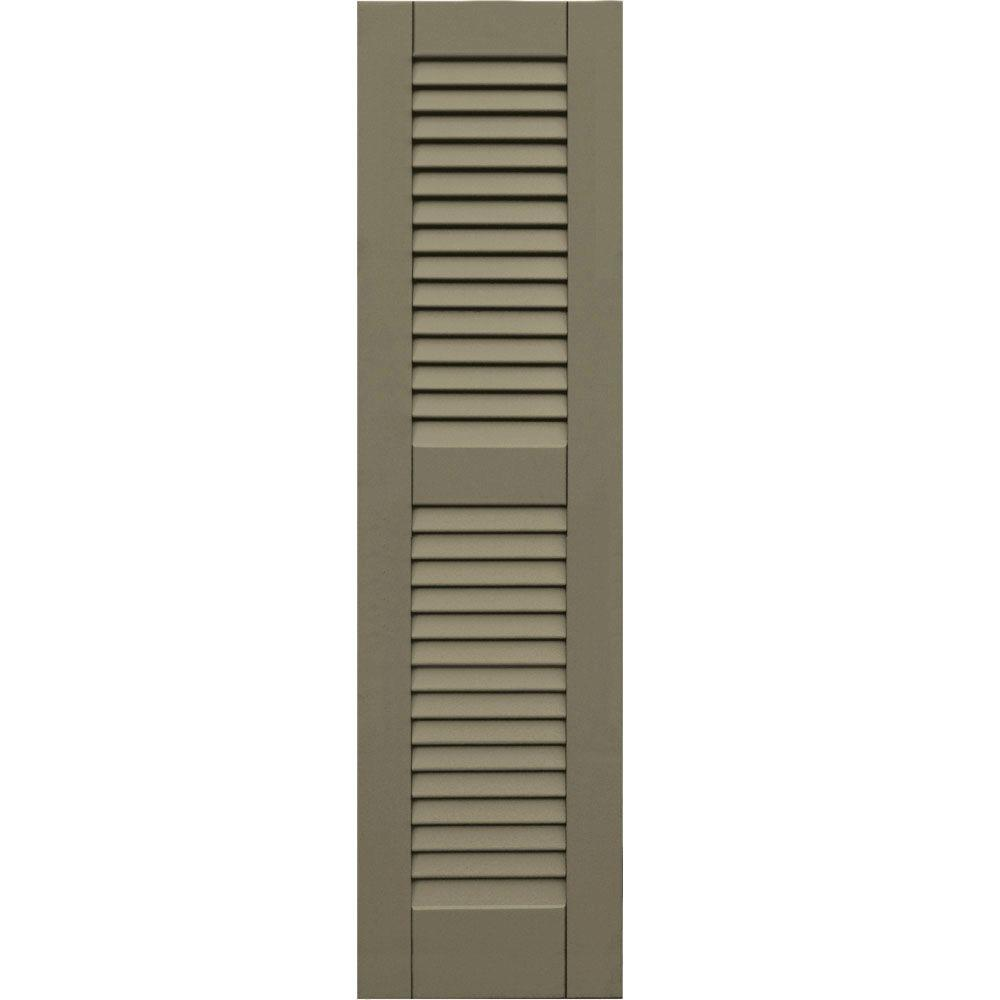 null Wood Composite 12 in. x 45 in. Louvered Shutters Pair #660 Weathered Shingle