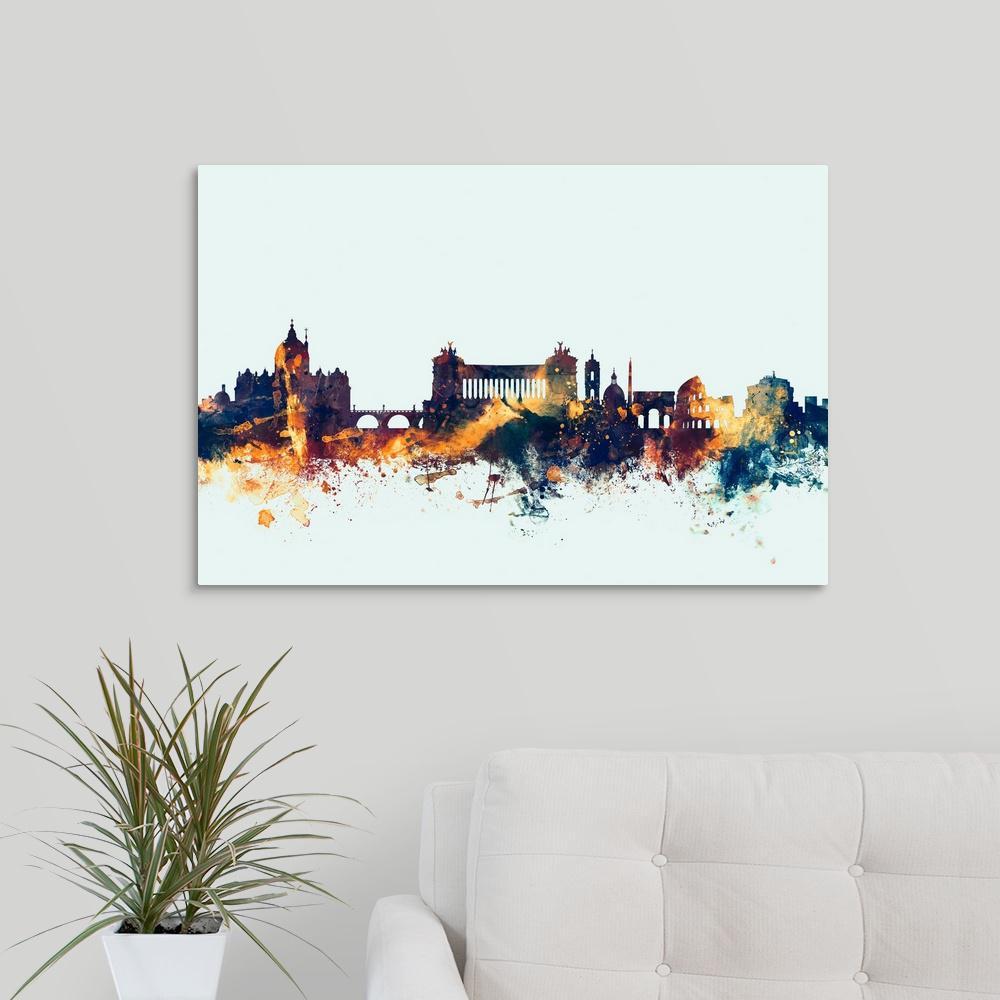 "GreatBigCanvas ""Rome Italy Skyline"" by Michael Tompsett Canvas Wall Art"