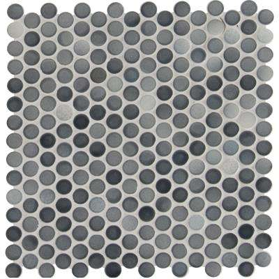 Penny Round Grigio Mix 12.2 in. x 11.3 in. x 6 mm Glazed Ceramic Mesh-Mounted Mosaic Tile