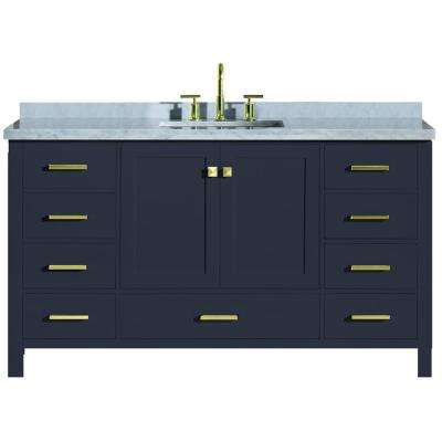 Cambridge 61 in. W x 22 in. D Vanity in Midnight Blue with Marble Vanity Top in Carrara White with White Basin