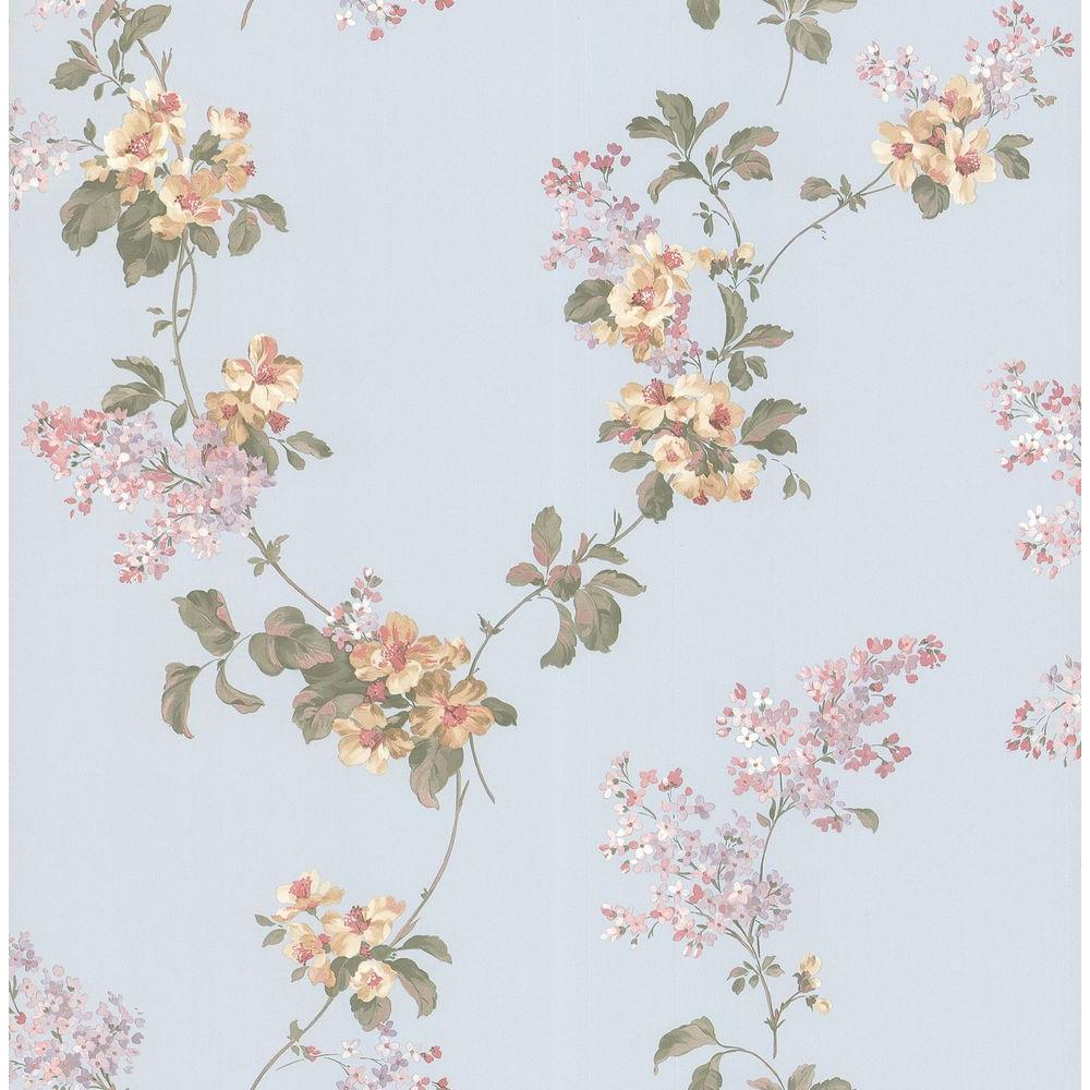 Brewster Madison Blue Floral Trail Wallpaper Sample