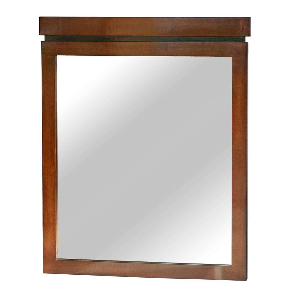 null Pegasus 30 in. x 36 in. Framed Wall Mirror in Medium Brown