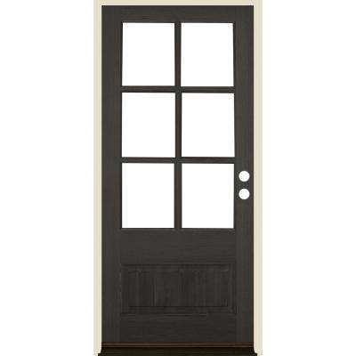 36 in. x 80 in. Farmhouse 3/4 Lite Black Stain Left-Hand/Inswing Douglas Fir Prehung Front Door