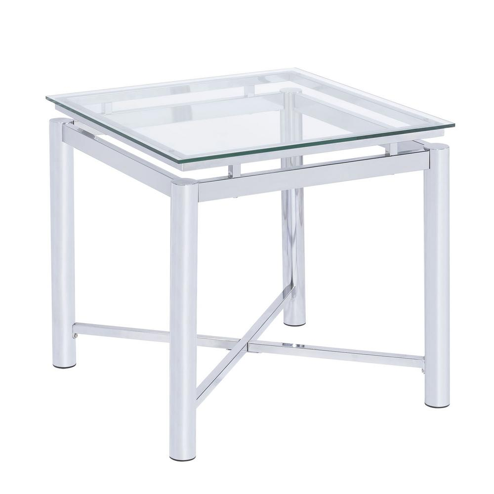 Picket House Furnishings Monroe Clear Modern End Table, Grey The Picket House Furnishings Monroe End Table is the perfect addition to your home! This square accent table will elevate your living room to the next level! The clear glass top pairs beautifully with the chrome base finish, making it easy to match with any existing decor and furnishings. The stretcher base meets in the middle to help support the table and gives it a little extra flair. The glass table top is slightly lifted from the table base making this living room staple unique. Add a little glam to your home today with the Monroe End Table.