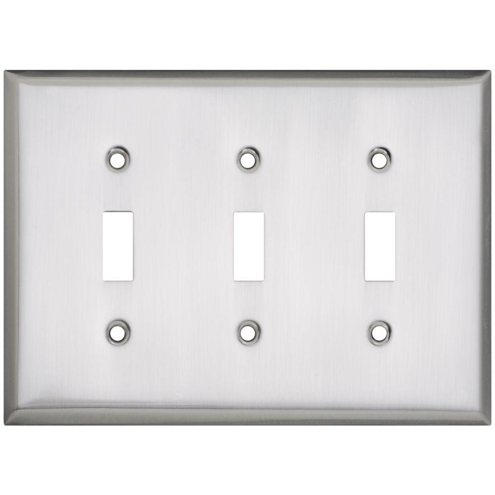 Stanley-National Hardware 3 Toggle Wall Plate - Satin Nickel