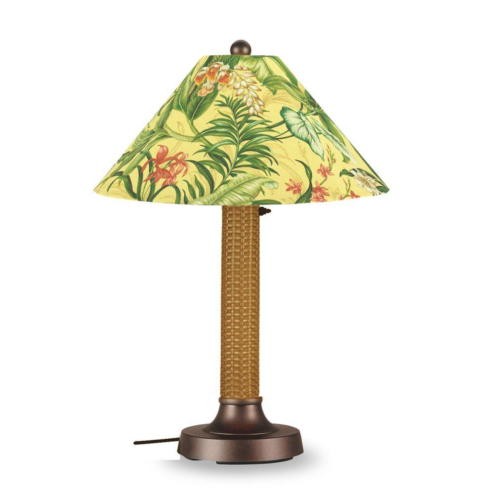 Patio Living Concepts Bahama Weave 34 in. Outdoor Mocha Cream Table Lamp with Soleil Shade