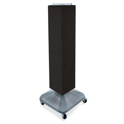 44 in. H x 8 in. W Interlock Pegboard Tower on a Revolving Base in Black