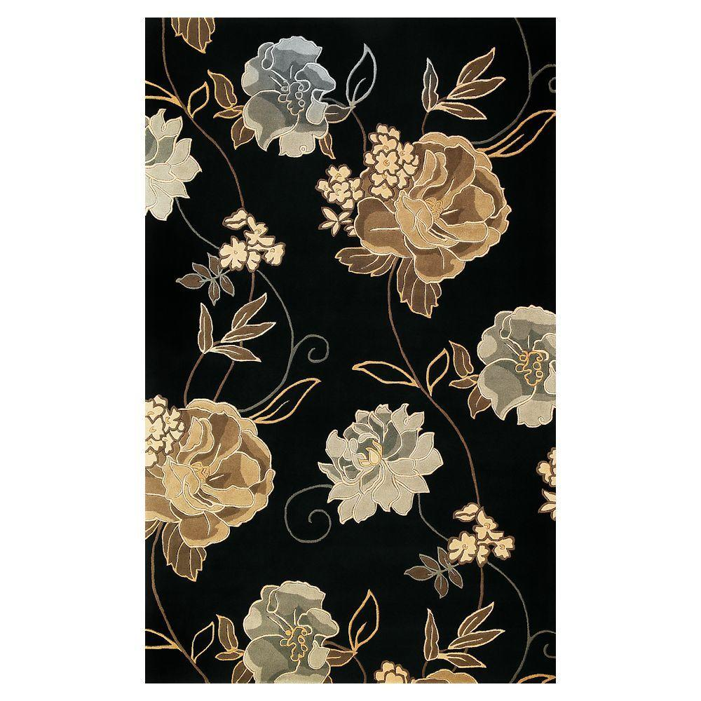 Kas Rugs Large Poppies Black 5 ft. x 8 ft. Area Rug