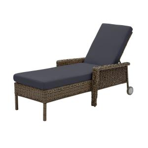Laguna Point Brown Wicker Outdoor Patio Chaise Lounge with CushionGuard Midnight Navy Blue Cushions