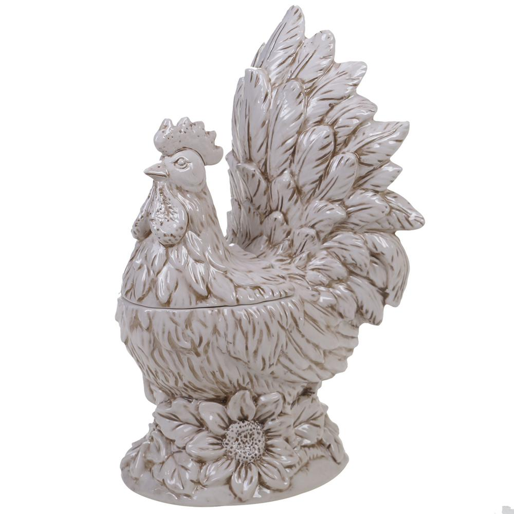 Toile Rooster Ceramic 3-D Cookie Jar