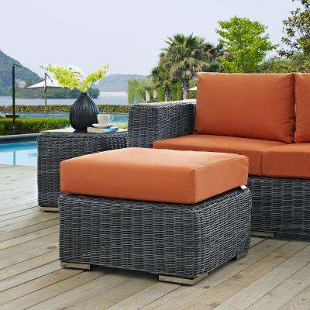 Summon Wicker Outdoor Patio Ottoman With Sunbrella Canvas Tuscan Cushion