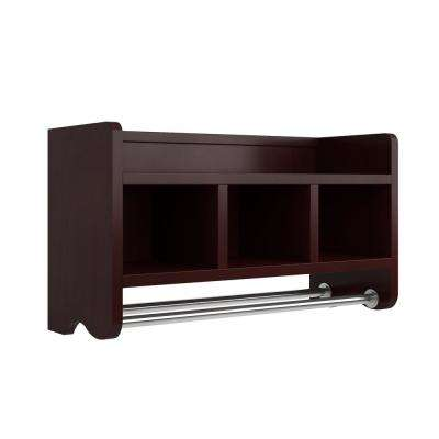 25 in. W Bath Storage Shelf with Towel Rod in Espresso