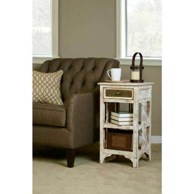 Alena Distressed Whitewash End Table