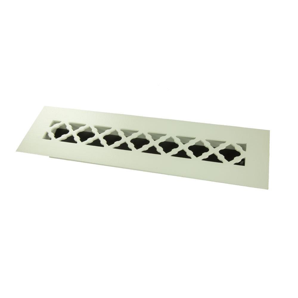 Tuscan 12 in. x 2-1/4 in. Steel Floor Register, White/Powder Coat with Single Blade Damper
