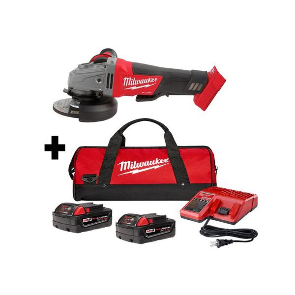 M18 FUEL 18-Volt Lithium-Ion Brushless Cordless 4-1/2 in./5 in. Grinder Kit with Paddle Switch with Two 4.0 Ah Batteries
