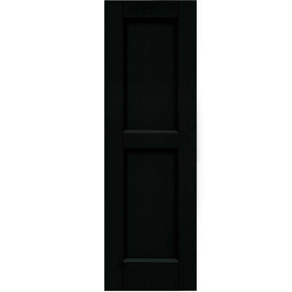 Winworks Wood Composite 12 in. x 38 in. Contemporary Flat Panel Shutters Pair #653 Charleston Green